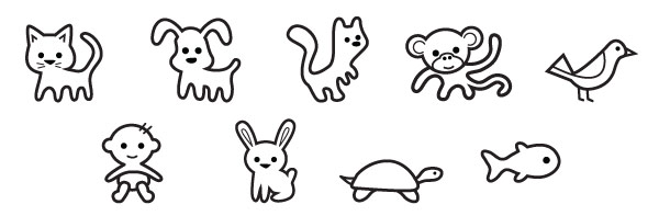 A collection of 9 free animal icons